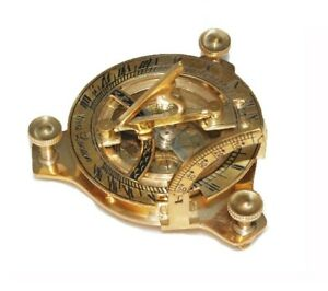 New-3-Inch-Sundial-Compass-Brass-Made-Nautical-Navigational