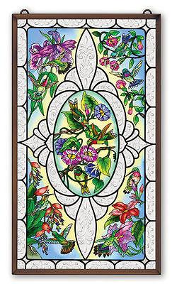 "AMIA STAINED GLASS 13"" x 23"" VINTAGE HUMMINGBIRD WINDOW PANEL  #41657"