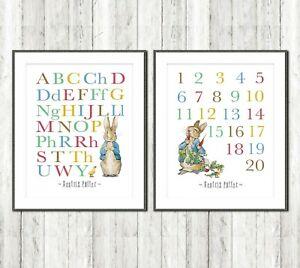 Alfabeto galeses Decoración infantil, Peter Rabbit guardería ABC y números, 5x7 o 8x10