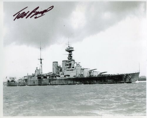 WW2 HMS Hood survivor Ted Briggs signed 8x10 photo WITH PHOTO PROOF! UACC