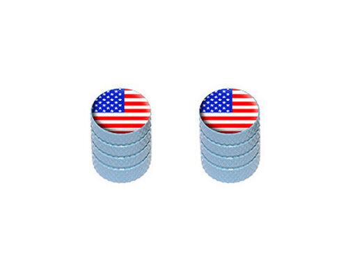 Motorcycle Bicycle Tire Valve Stem Caps USA American Flag Colors