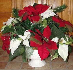 Christmas silk flowers red and white poinsettia arrangement pine image is loading christmas silk flowers red and white poinsettia arrangement mightylinksfo