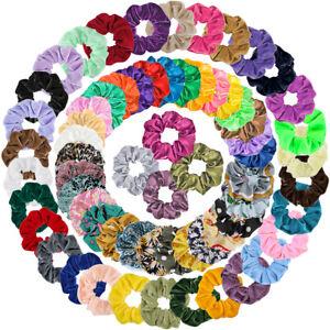 65Pcs-Elastic-HairBands-Satin-Bobbles-Ties-Scrunchies-Ropes-Soft-Velvet-Chiffon