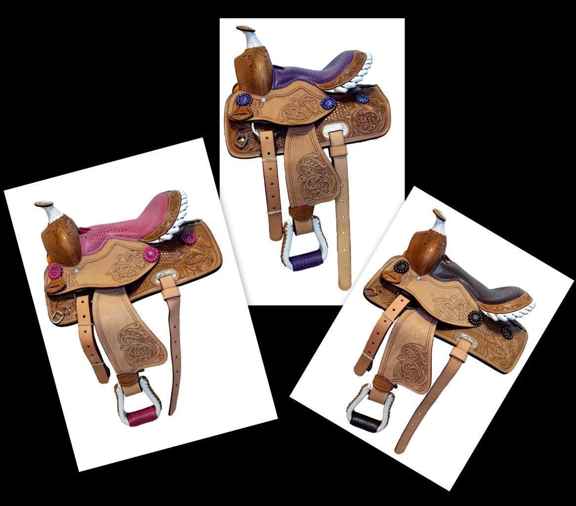10  Western Saddle Mini Pony PINK PURPLE BROWN GATOR Seats Leather Oak Leaf NEW