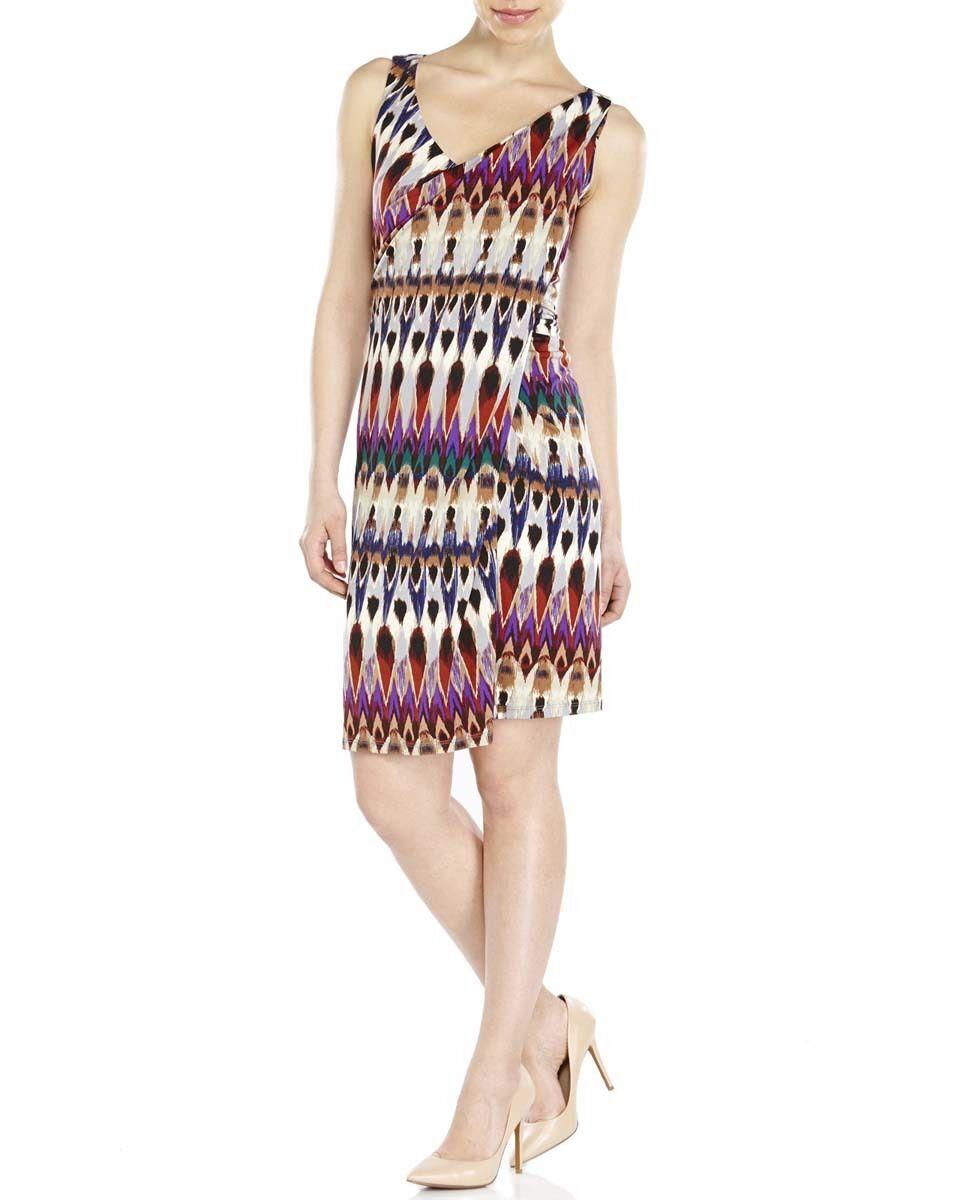 Badgley Mischka BMS2251 damen Taupe Multi Printed Asymmetrical Sheath Dress 6
