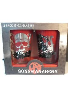 Sons-of-Anarchy-SAMCRO-16oz-Pint-Glasses-Set-of-2-Brand-New-In-Box