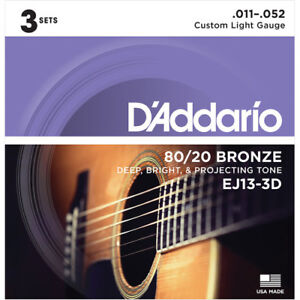 3-Sets-D-039-Addario-EJ13-3D-Custom-Light-Acoustic-Guitar-Strings-80-20-Bronze-11-52