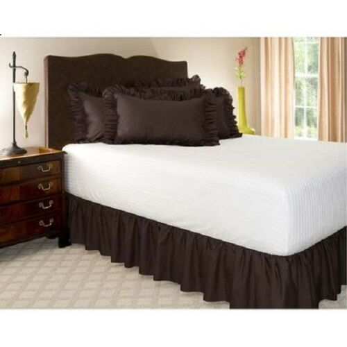 600-TC Cotton SPLIT Corner Ruffle Bed Skirt Solid Chocolate All Size//Drop Length