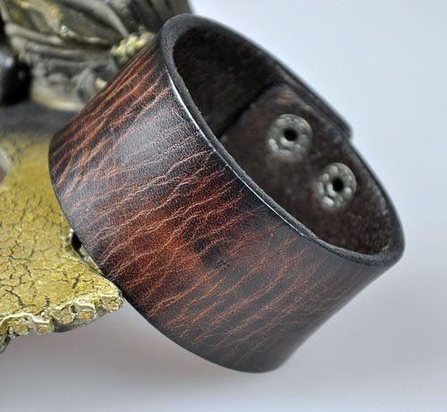 S401 vintage Texture Cuir Véritable Bracelet Bracelet Homme Large Manchette Marron