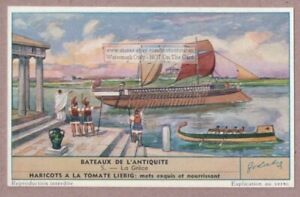 Greek-Grece-Bateaux-Sailing-Ship-Old-Ancient-Historic-60-Y-O-Trade-Ad-Card