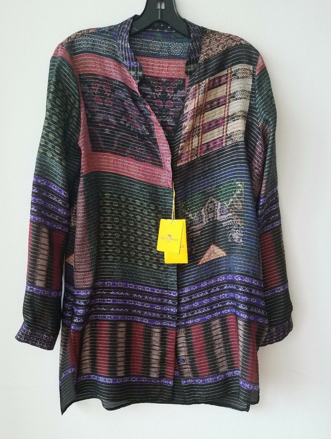 Etro Striped Button-Front Tunic Blouse, Purple Red Original  Size 42IT 6-8US