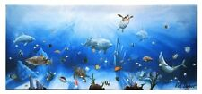 "Dolphin Canvas Ocean Sea Life Wall Plaque Decor 8.25x24x1.5"" for Hanging"