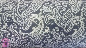 Blue-Paisley-Damask-Cotton-Flannel-Fabric-By-The-Yard
