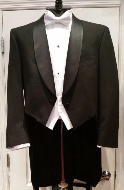 """Men's Ballroom Wool Black """"White Tie"""" Full Dress Tailcoat Tuxedo Jacket RL Chaps"""