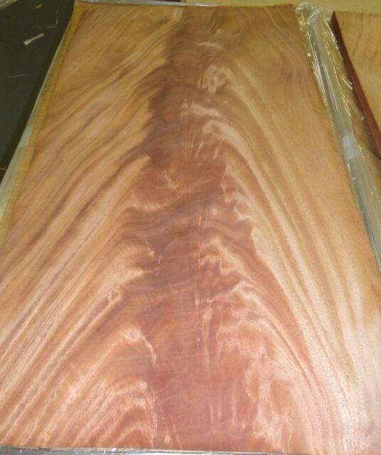 "Crotch Mahogany African wood veneer 19"" x 34"" raw with no backing 1/32"" ""AA"""