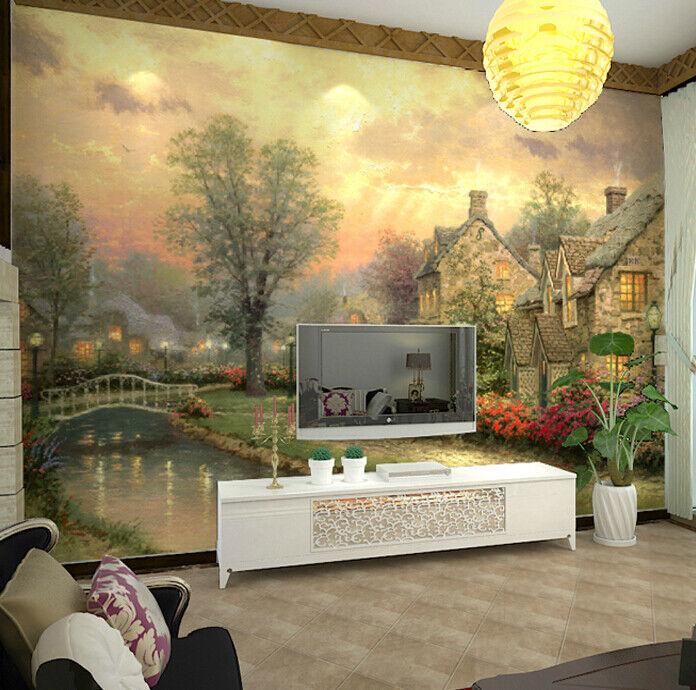 3D Wald Haus Ölgemälde 54 Tapete Tapeten Mauer Foto Familie Tapete Wandgemälde