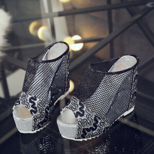 Womens-Peep-Toe-Mesh-Hollow-Out-Slippers-High-Platform-Wedge-Heel-Shoes-Sandals