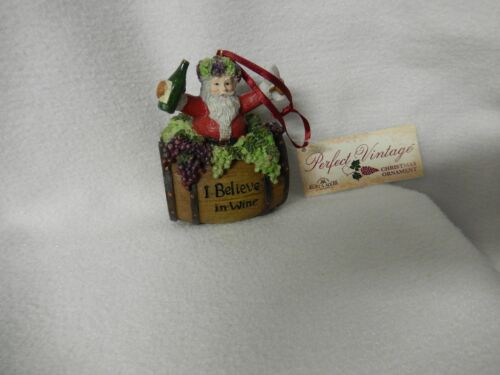 CHRISTMAS 4/'/'INCH SANTA ON  WINE BAR RESIN 3-D ORNAMENT-NEW- 1 ONLY