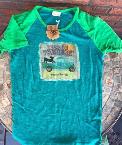 "/""Keep On Trucking Enjoy The Ride/"" Sz 12 T-Shirt Blue Green All Cotton Girls Top"