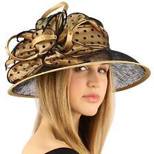 "Kentucky Derby Polka Dot Crystal 4"" Brim Floppy Feathers Ribbon Church Hat Gold"