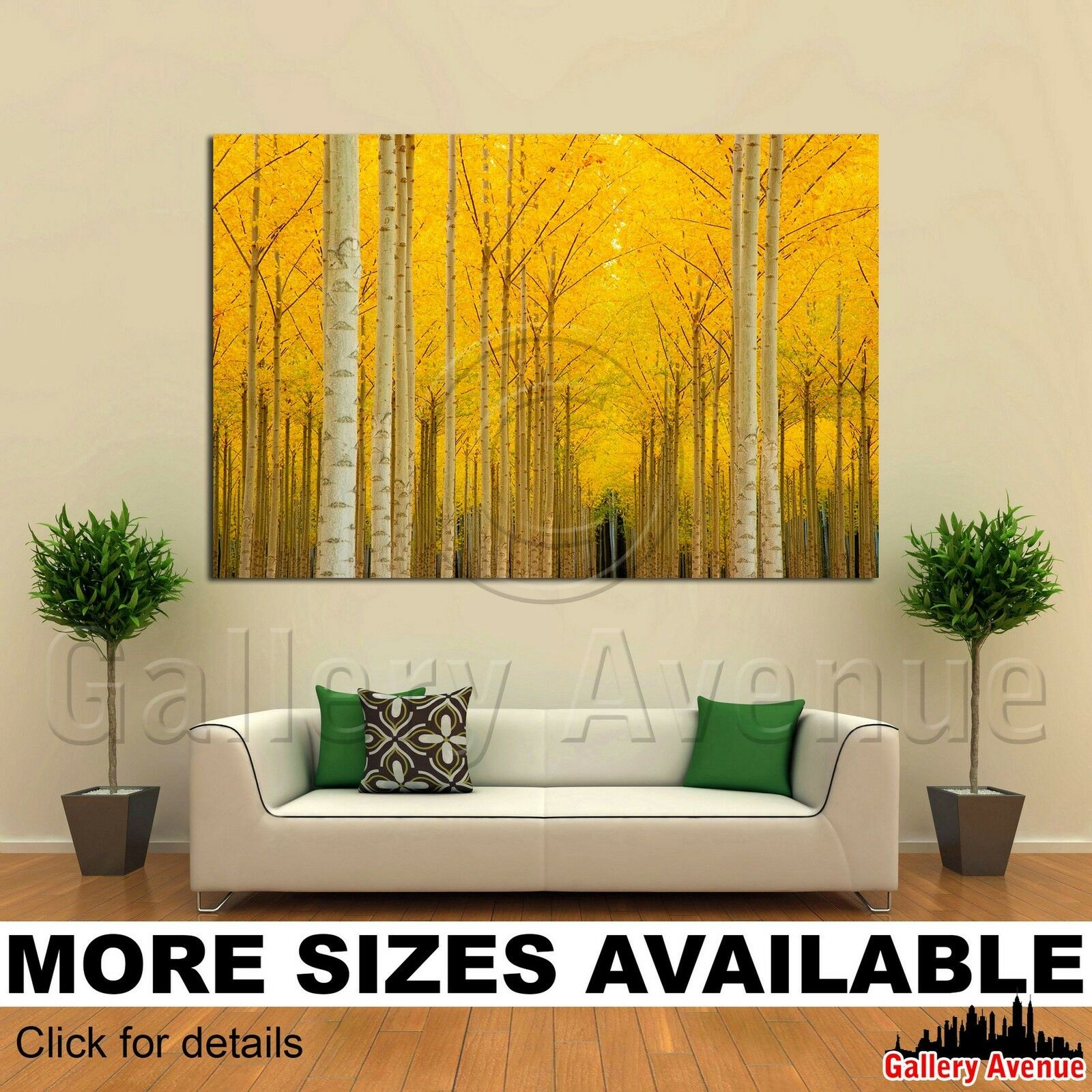 Wall Art Canvas Picture Print - Gelb Trees Aspen 3.2