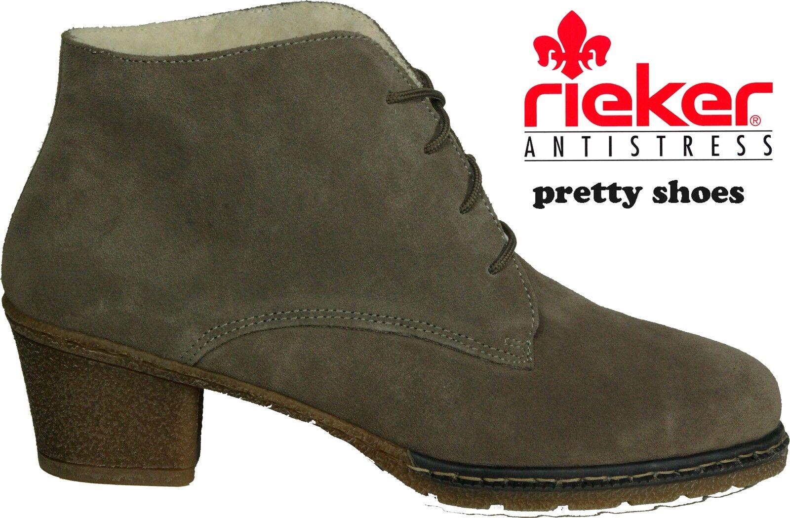 Rieker de botín talla 40 gris caliente forro de piel de Rieker cordero modelo Natalie nuevo af506d