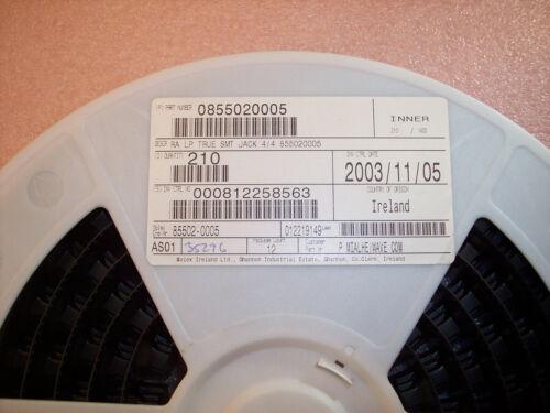 85502-0005  MOLEX R//A LOW PROFILE SMD RJ11 MODULAR JACK 4//4 QTY 25