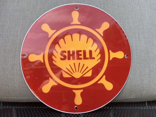 SHELL MARINE Gasoline vintage style Porcelain Sign OIL GAS