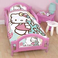 Hello Kitty Stitch Panel Junior Toddler Cot Bed Duvet Bedding Bundle 4 In 1