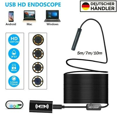 für iPhone Android PC WIFI Endoskop 8mm 1200P HD Inspektionskamera 5//7//10m LED