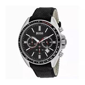 100-New-Hugo-Boss-1513087-Chronograph-Black-Nylon-Strap-Driver-Men-039-s-Watch-47mm