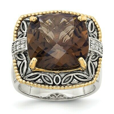 Smokey Quartz Ring .925 Sterling Silver /& 14K Gold Accent Size 6-8 Shey Couture