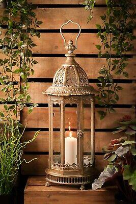 Obbiettivo Grande Lanterna Vintage Francese Antico Portacandele Dorato Rame Metallo Casa Giardino- Promuovere La Salute E Curare Le Malattie