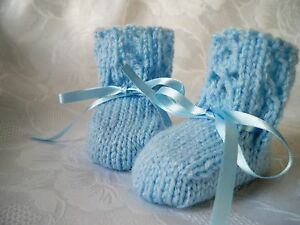Hand-Knitted-Baby-Boys-Blue-Booties-Fits-Birth-3-Months-039-NEW-039