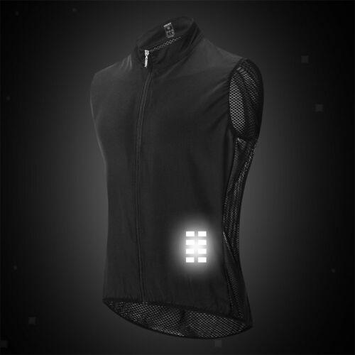 Men/'s Cycling Gilet Jacket Mesh Back Vest Waistcoat with Reflective Strip