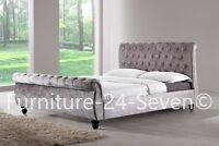 Silver Chesterfield Velvet Fabric Designer Bed Frame With Mattress Options