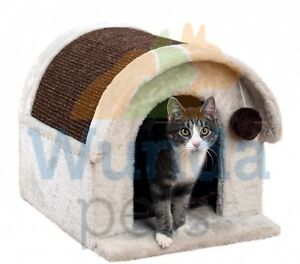 TRIXIE-ARLO-CAT-KITTEN-PLUSH-CUDDLY-CAVE-HIDE-BED-IGLOO-SCRATCHER-40-X-45-42705