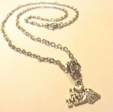 collier chaine argenté 46,5 cm avec pendentif I love my dog