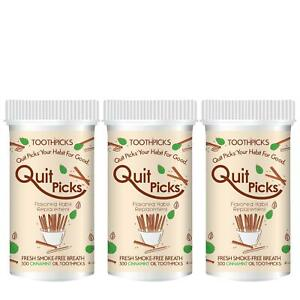 Quit Picks Toothpicks 300ct Cinnamint 3-Pack Quit Smoking Aid Freshes Breathe
