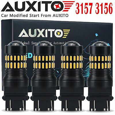 AUXITO 4X 3157 3457 3057 3156 Amber Yellow 48SMD Turn Signal Lights LED Bulbs EA