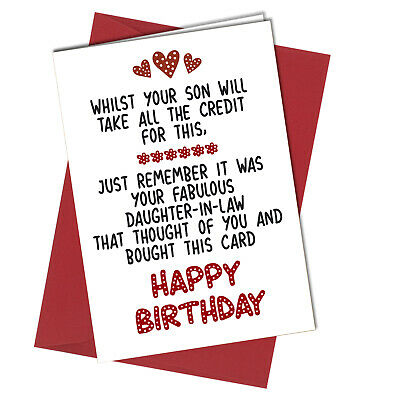 Enjoyable 991 Funny Humour Inlaws Mother In Law Birthday Card Mom From Personalised Birthday Cards Bromeletsinfo