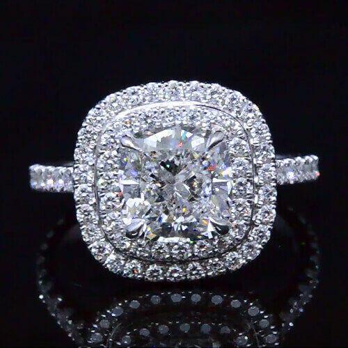 2.65 Ct. Cushion Cut Diamond Dual Halo Engagement Ring F, VS2 GIA 18K WG New