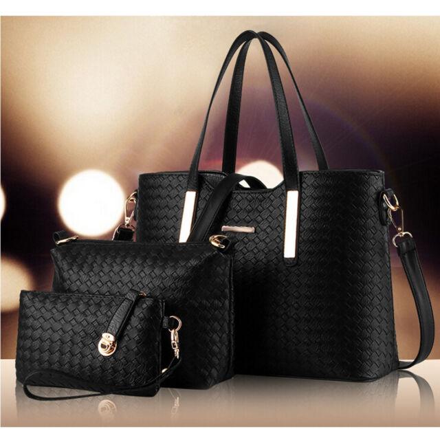 3pcs Set Women Leather Satchel Handbag Shoulder Messenger Crossbody Bag Wallet