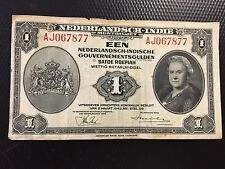 BANK NOTE 1943 NEDERLANDSCH INDIE 1  DUTCH EAST INDIES