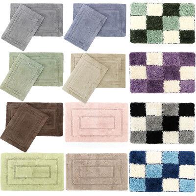 Bath Rug Set Reversible Mat Shower Carpet Bathroom Floor Tub Rugs Cotton