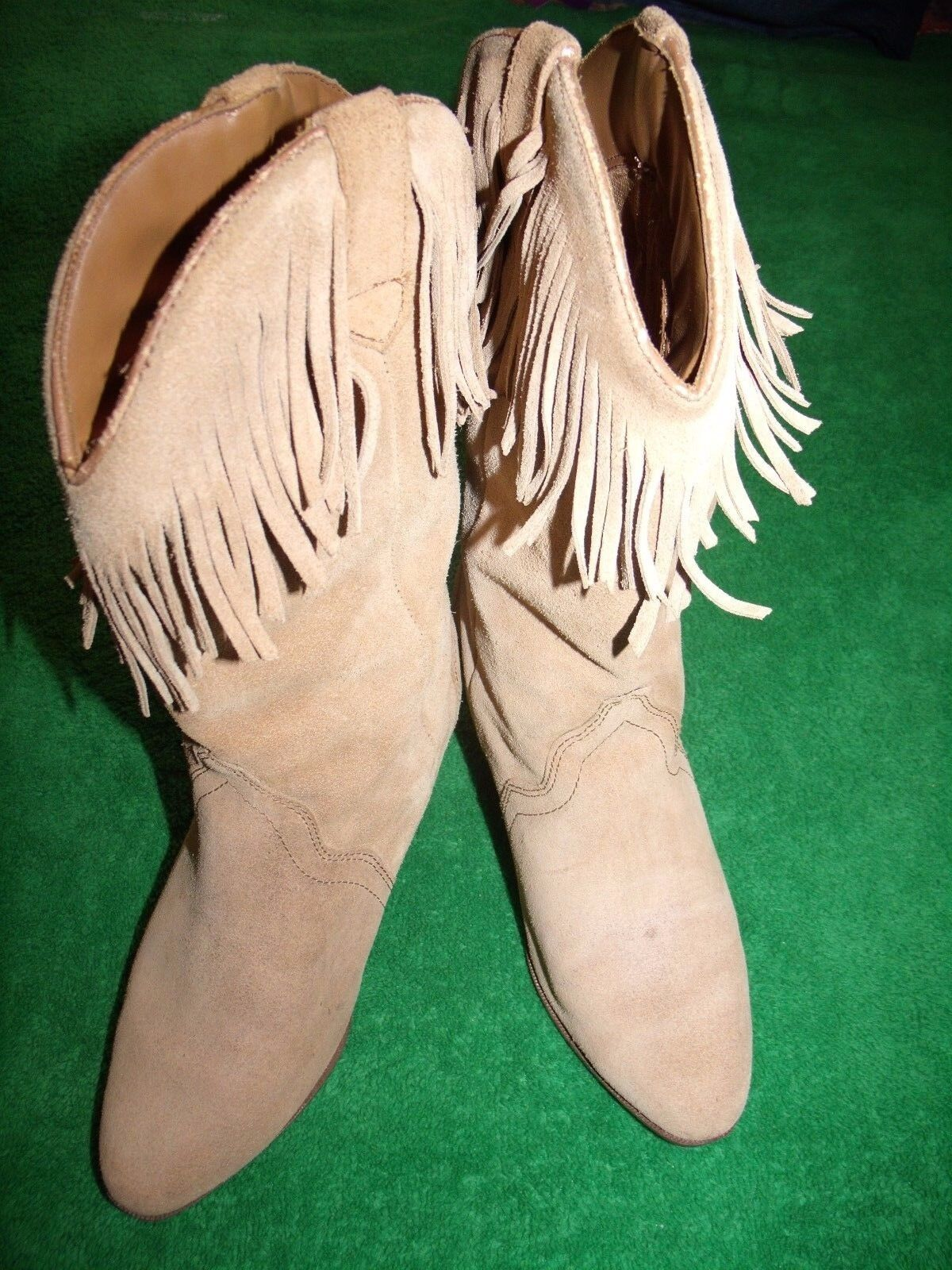 Women's Silver Star Houston leather fringed cowgirl boots size 5.5M