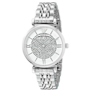 NEW-Emporio-Armani-AR1925-White-Crystal-Pave-Gianni-Classic-T-Bar-Ladies-Watch