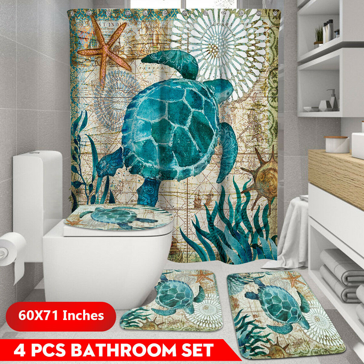 Bath Bathroom Shower Curtain Non Slip