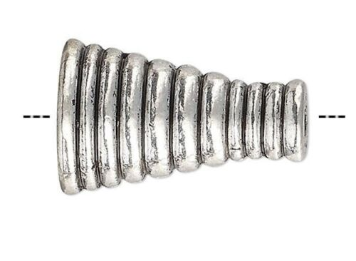 10 Antiqued Silver Pewter Lined 16x10.5mm Cone Cord End or Bead Caps