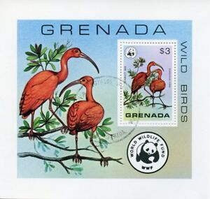 GRENADE-1978-CTO-oiseaux-sauvages-Ibis-Rouge-WWF-1-V-S-S-timbres